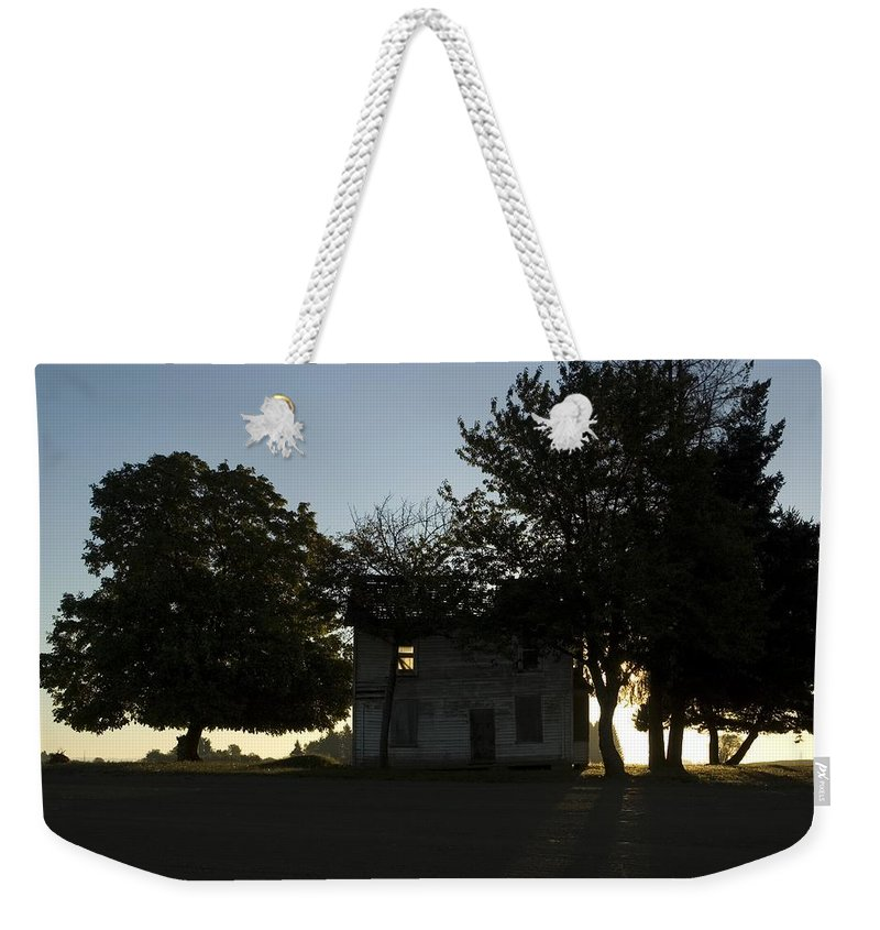 Farm House Weekender Tote Bag featuring the photograph Old Burnt House by Sara Stevenson