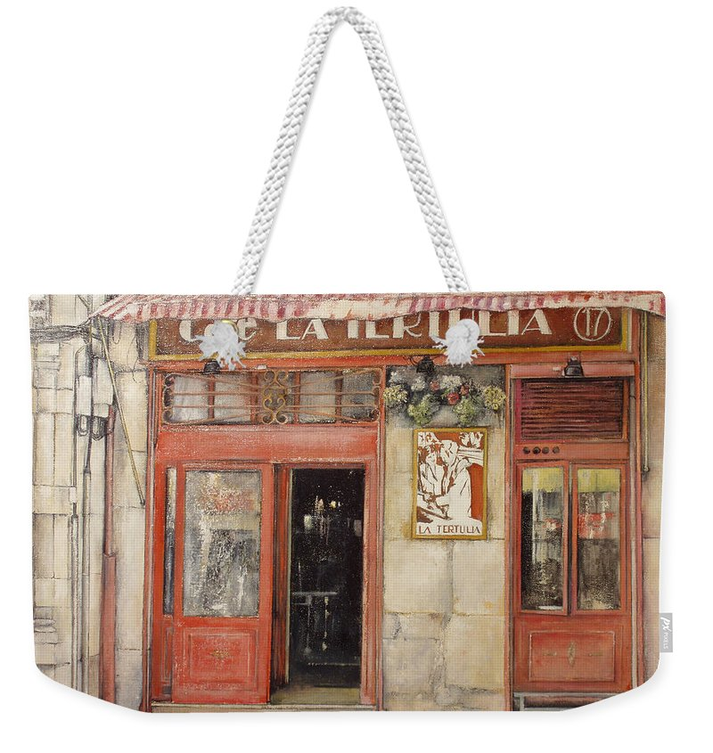 Cafe Weekender Tote Bag featuring the painting Old Cafe- Santander Spain by Tomas Castano