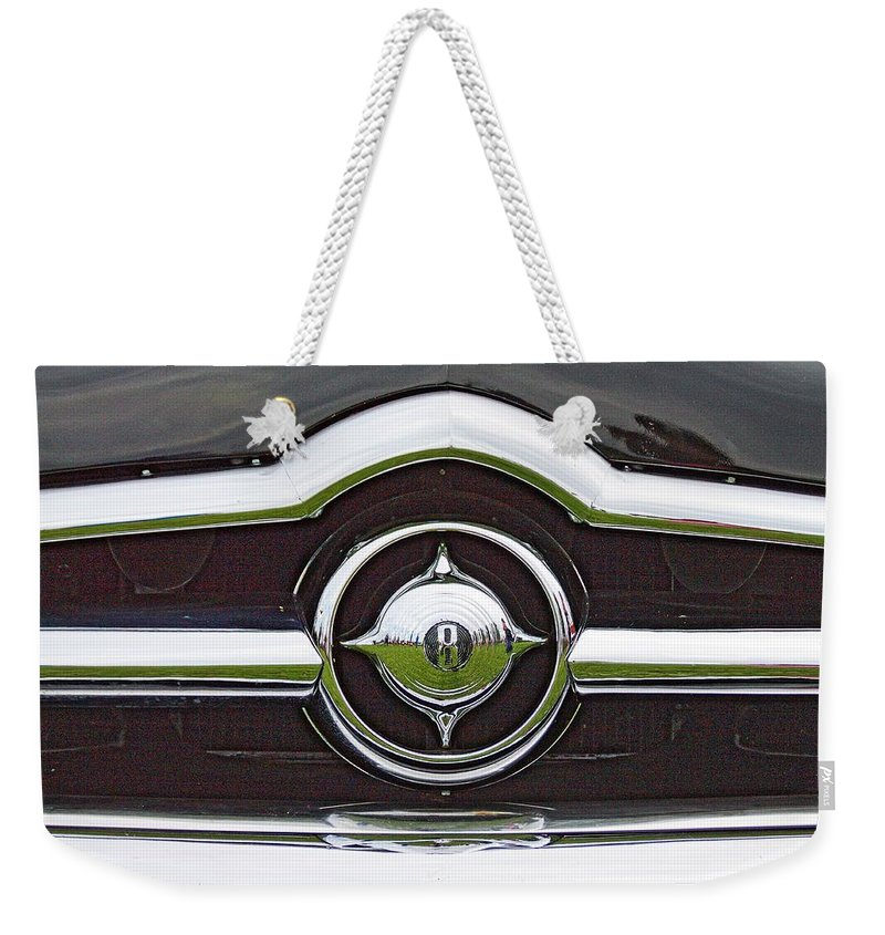 Cars Weekender Tote Bag featuring the photograph Old Car Grille by Karl Rose