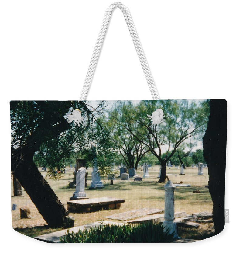 Graves Cementery Trees Shade Weekender Tote Bag featuring the photograph Old Cementery by Cindy New