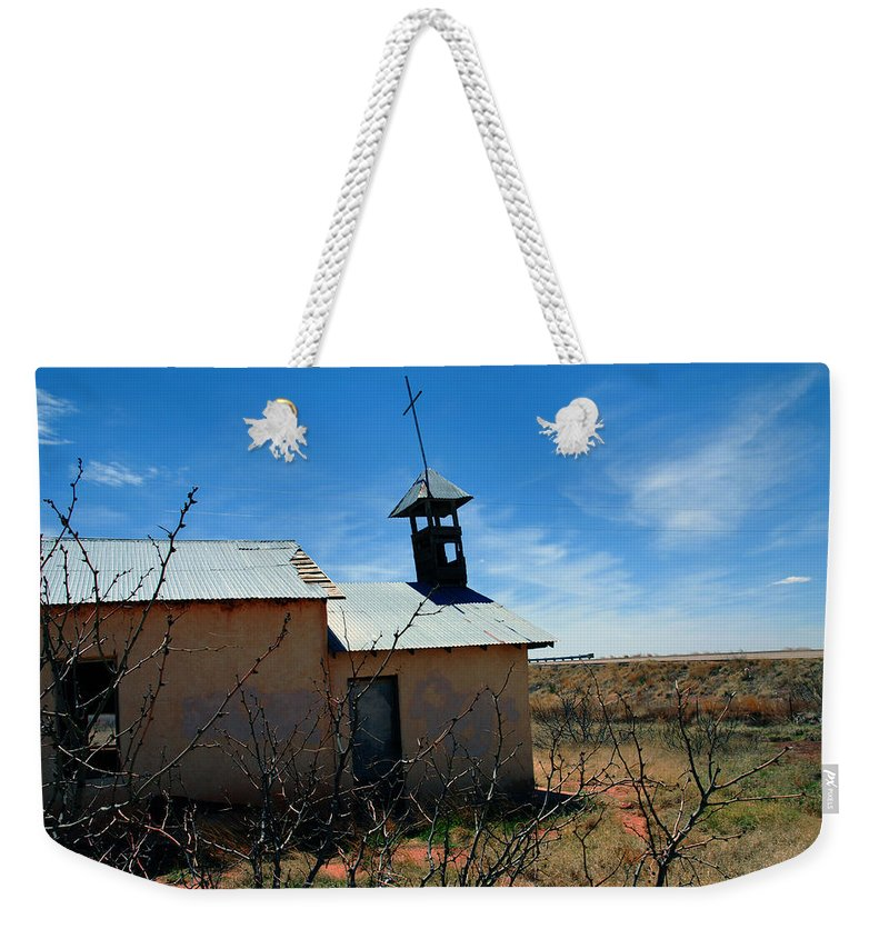 Route 66 Weekender Tote Bag featuring the photograph Old Chapel On Route 66 In Newkirk Nm by Susanne Van Hulst
