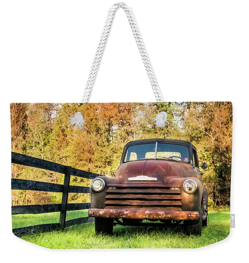 Old Cars Weekender Tote Bag featuring the photograph Old Chevy by Cynthia Wolfe