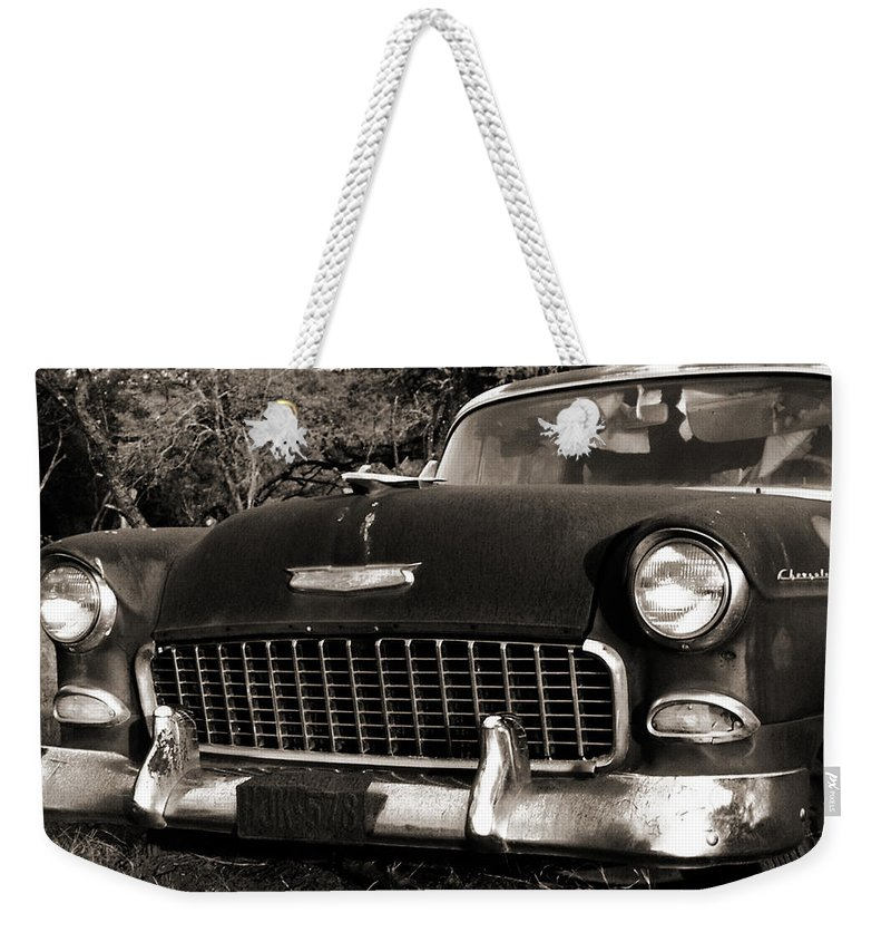 Americana Weekender Tote Bag featuring the photograph Old Chevy by Marilyn Hunt
