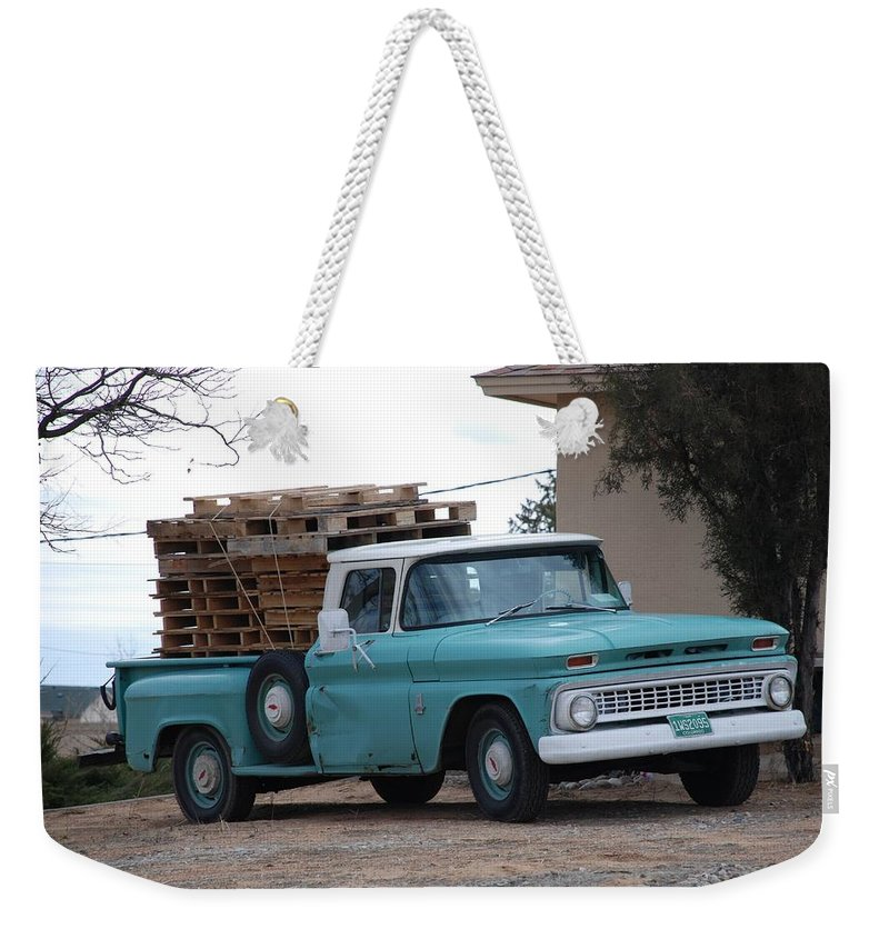 Old Truck Weekender Tote Bag featuring the photograph Old Chevy by Rob Hans