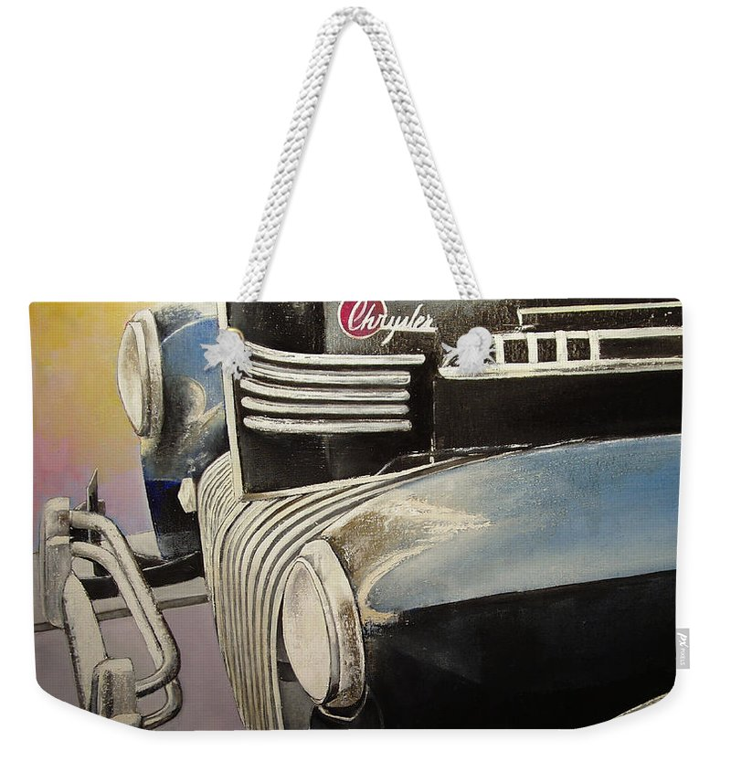 Old Weekender Tote Bag featuring the painting Old Chrysler by Tomas Castano