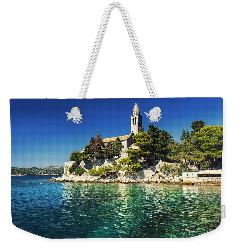 Adriatic Weekender Tote Bag featuring the photograph Old Church On Croatian Island by Sandra Rugina