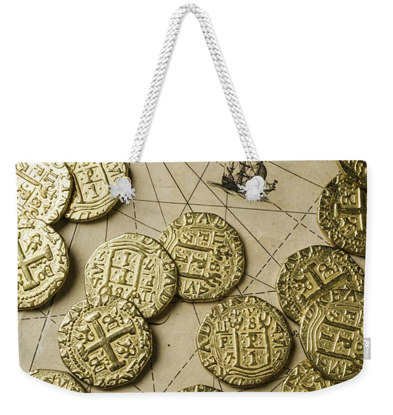 Old Gold Weekender Tote Bag featuring the photograph Old Coins On Old Map by Garry Gay