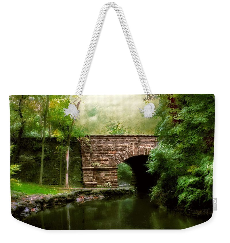 Old Countrybridge Green Art Weekender Tote Bag featuring the photograph Old Country Bridge by Jessica Jenney