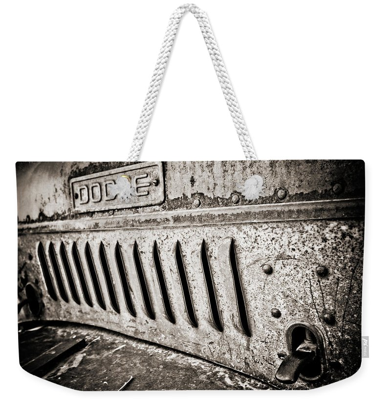 Americana Weekender Tote Bag featuring the photograph Old Dodge Grille by Marilyn Hunt