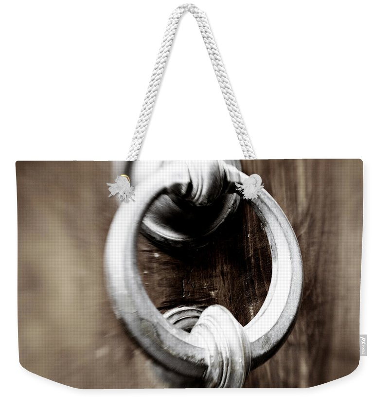Home Weekender Tote Bag featuring the photograph old Door Knocker by Marilyn Hunt