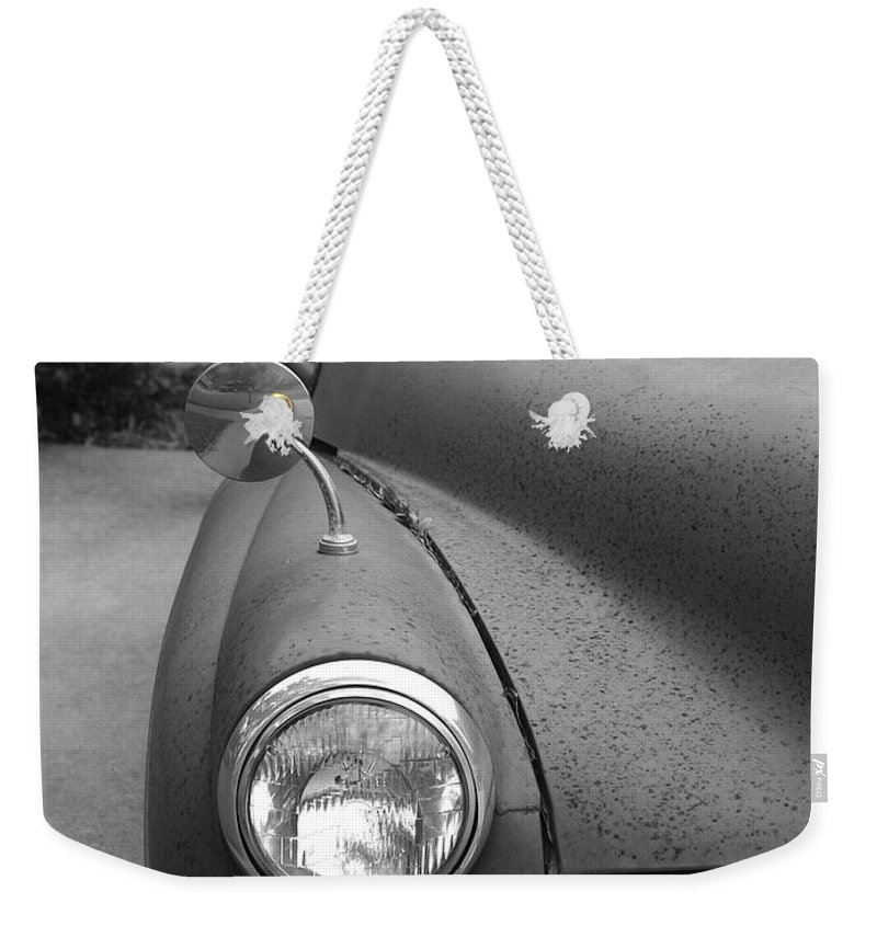 Old Weekender Tote Bag featuring the photograph Old English Car by Marilyn Hunt