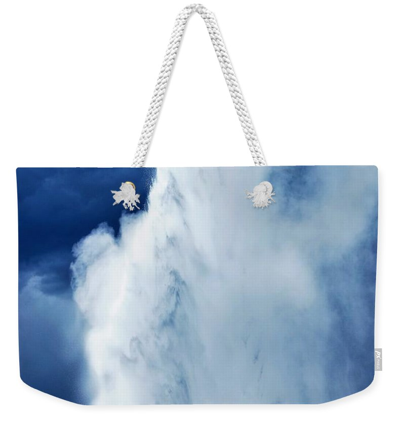Landscape Weekender Tote Bag featuring the photograph Old Faithful by Angela Grato