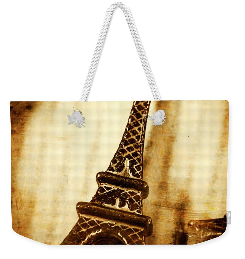Souvenir Weekender Tote Bag featuring the photograph Old Fashion Eiffel Tower Souvenir by Jorgo Photography - Wall Art Gallery