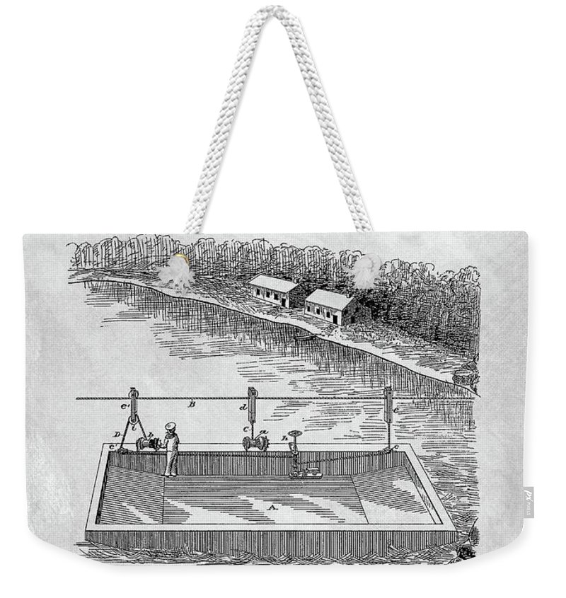 1884 Ferry Boat Patent Weekender Tote Bag featuring the drawing Old Ferryboat Patent by Dan Sproul
