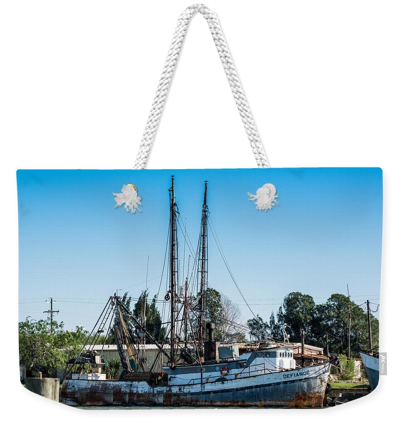 Brownsville Weekender Tote Bag featuring the photograph Old Fishing Boat In Port by JG Thompson