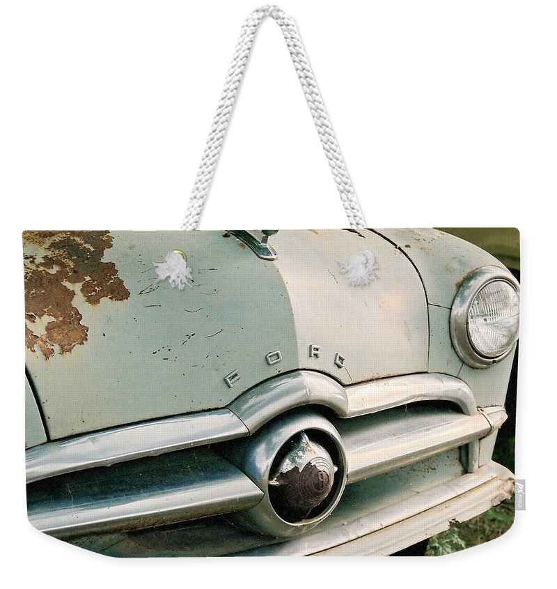 Car Weekender Tote Bag featuring the photograph Old Ford by Lauri Novak