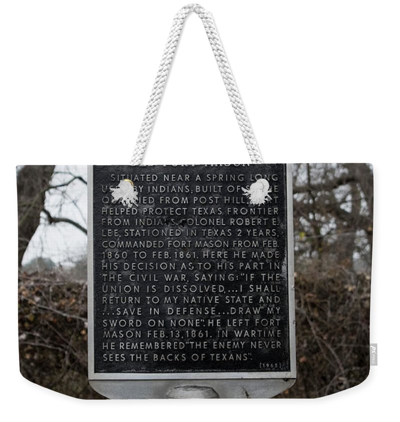 Mason Weekender Tote Bag featuring the photograph Old Fort Mason Historical Marker by Kevin McCollum