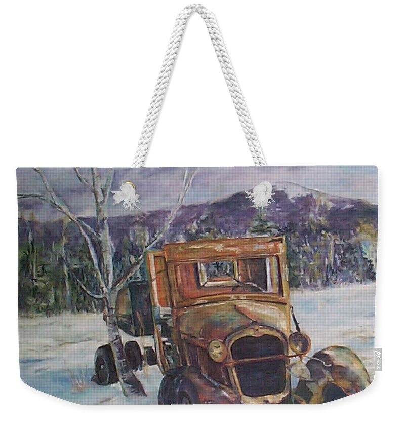 Model A Weekender Tote Bag featuring the pastel Old Friend II by Alicia Drakiotes