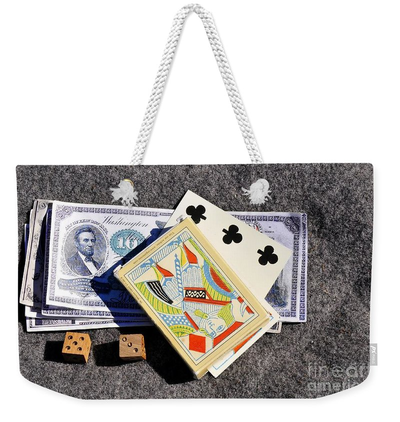 Gambling Weekender Tote Bag featuring the photograph Old Gambling Articles by David Lee Thompson