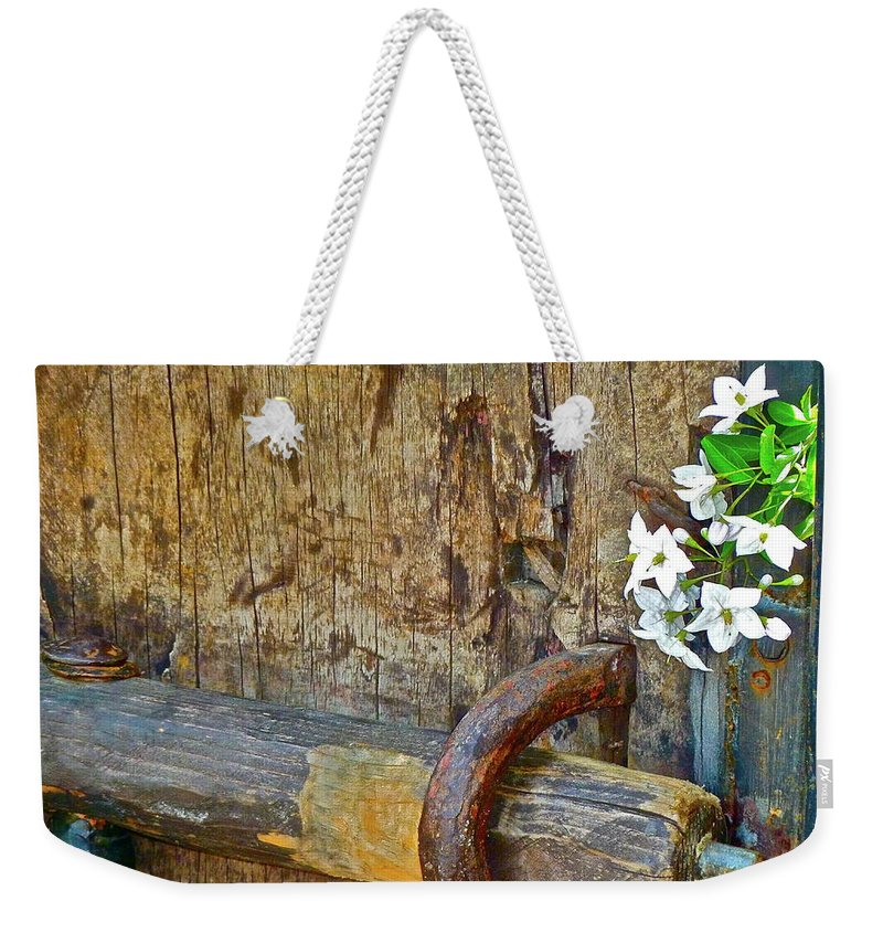 Antique Weekender Tote Bag featuring the photograph Old Gate by Diana Hatcher