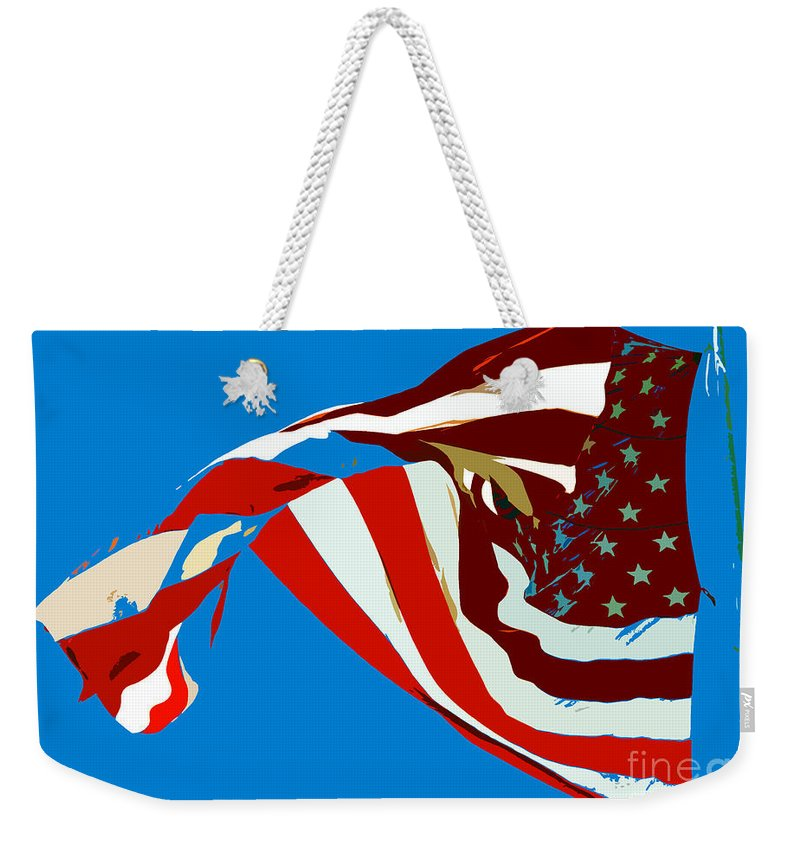 Old Glory Weekender Tote Bag featuring the painting Old Glory Flying by David Lee Thompson