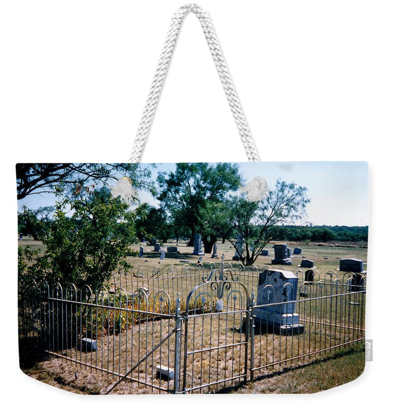 Fence Grave Headstone Stones Weekender Tote Bag featuring the photograph Old Grave Site 2 by Cindy New