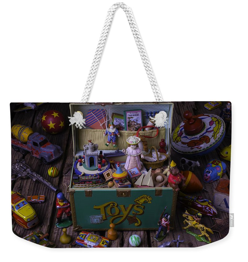 Collection Weekender Tote Bag featuring the photograph Old Green Toy Box by Garry Gay