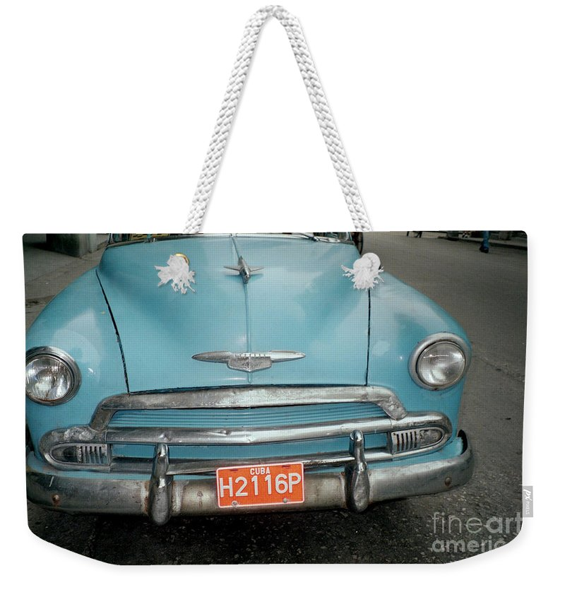 Taxi Weekender Tote Bag featuring the photograph Old Havana Cab by Quin Sweetman