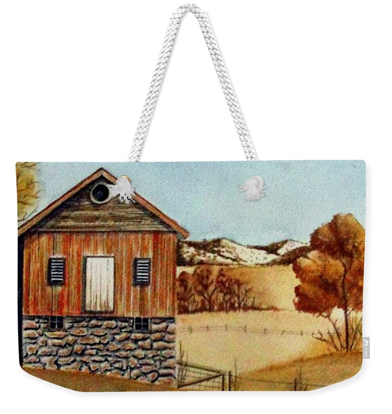 Building Weekender Tote Bag featuring the painting Old Homestead by Jimmy Smith