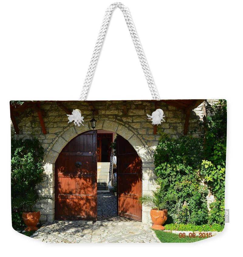 Weekender Tote Bag featuring the photograph Old House Door by Nuri Osmani