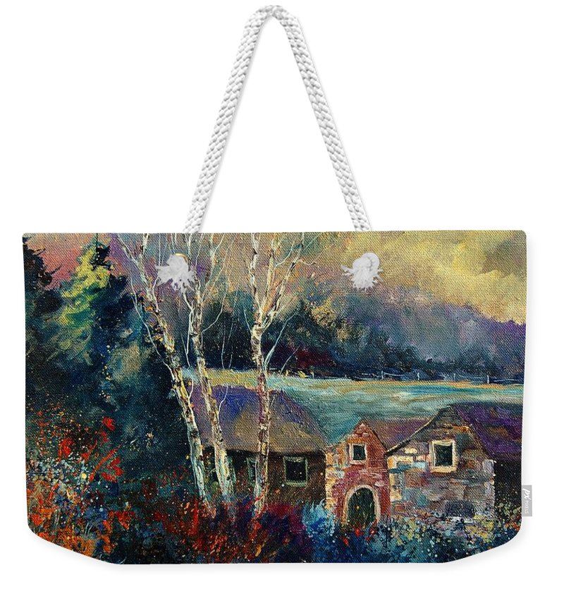 Village Weekender Tote Bag featuring the painting Old Houses In Hour by Pol Ledent
