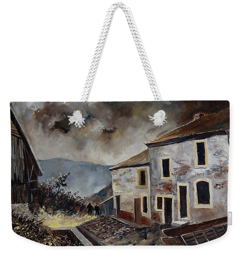 Tree Weekender Tote Bag featuring the painting Old Houses by Pol Ledent
