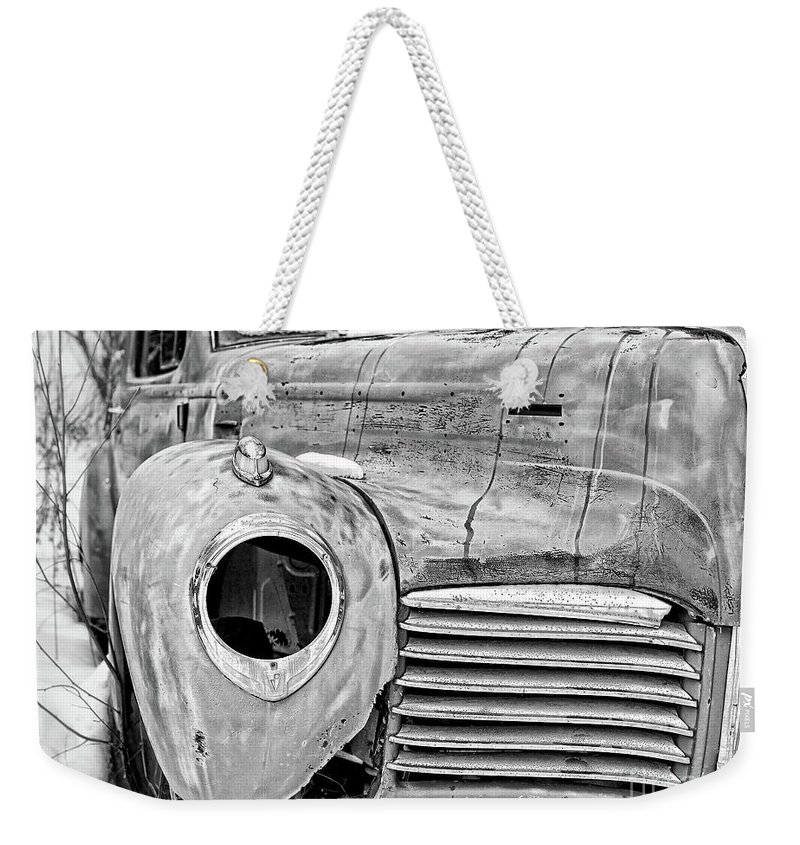 Square Weekender Tote Bag featuring the photograph Old Hudson In The Snow Black And White 4x3 by Edward Fielding