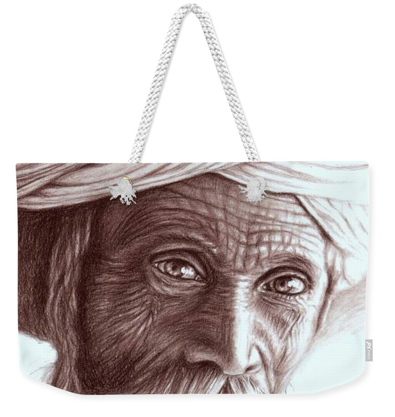 Man Weekender Tote Bag featuring the drawing Old Indian Man by Nicole Zeug