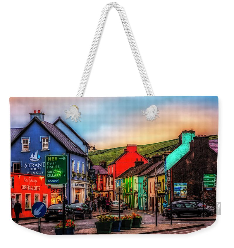 Barn Weekender Tote Bag featuring the photograph Old Irish Town The Dingle Peninsula At Sunset by Debra and Dave Vanderlaan