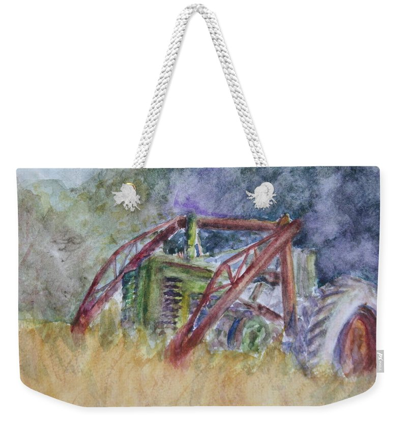 Watercolor Weekender Tote Bag featuring the painting Old John Deere Tractor In The Back 40 by Quin Sweetman