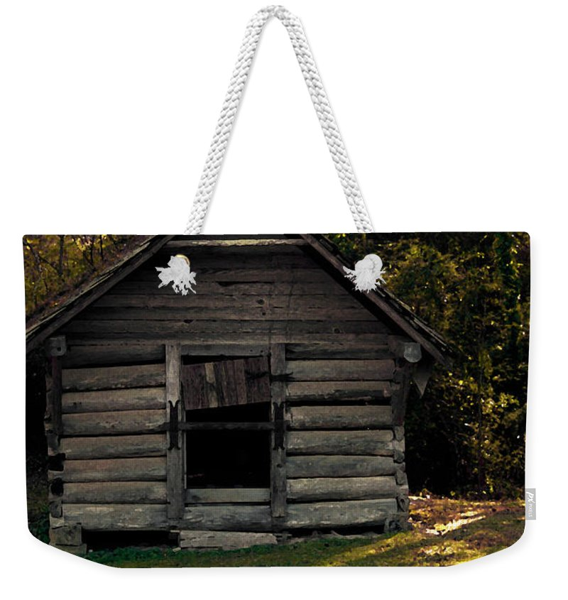Log Cabin Weekender Tote Bag featuring the photograph Old Log Cabin by Kim Henderson