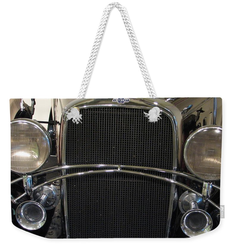 Chevy Weekender Tote Bag featuring the photograph Old Man Chevy by Kelly Mezzapelle
