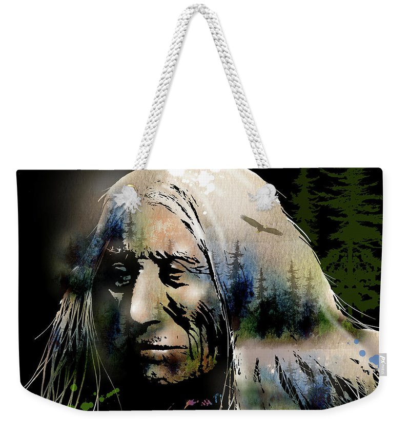 Native Americans Weekender Tote Bag featuring the painting Old Man Of The Woods by Paul Sachtleben