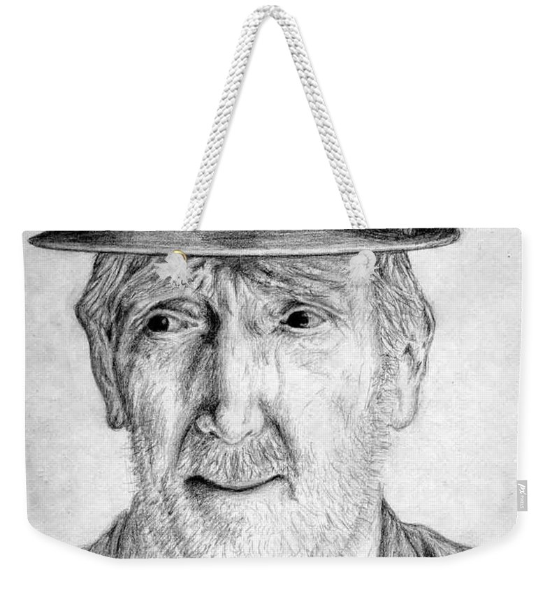 Man Weekender Tote Bag featuring the drawing Old Man With Hat by Nicole Zeug
