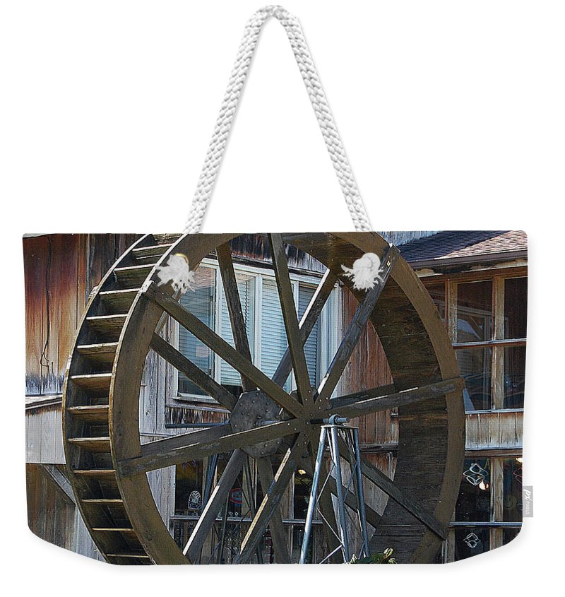 Water Weekender Tote Bag featuring the digital art Old Mill Store Entry To Caverns by DigiArt Diaries by Vicky B Fuller