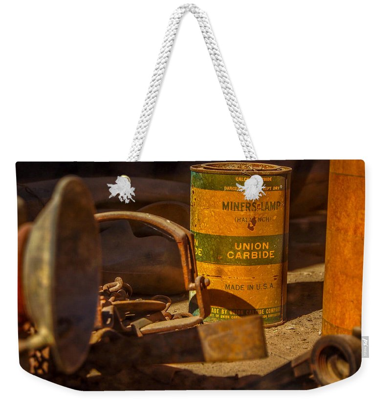Miner's Lamp Weekender Tote Bag featuring the photograph Old Mining Equipment by Michele James