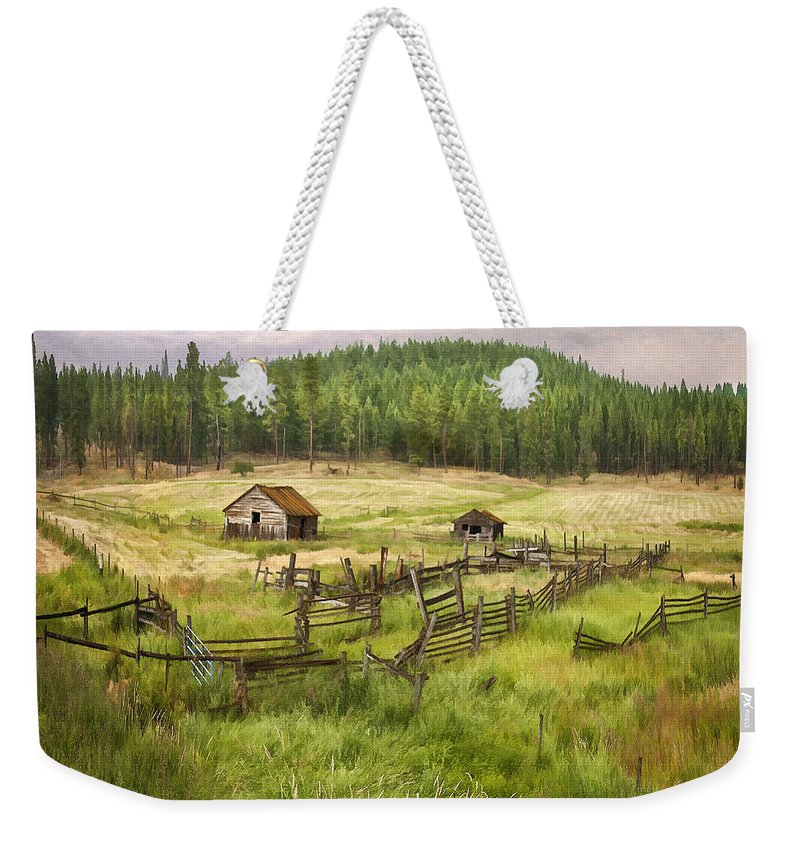 Architecture Weekender Tote Bag featuring the digital art Old Montana Homestead by Sharon Foster