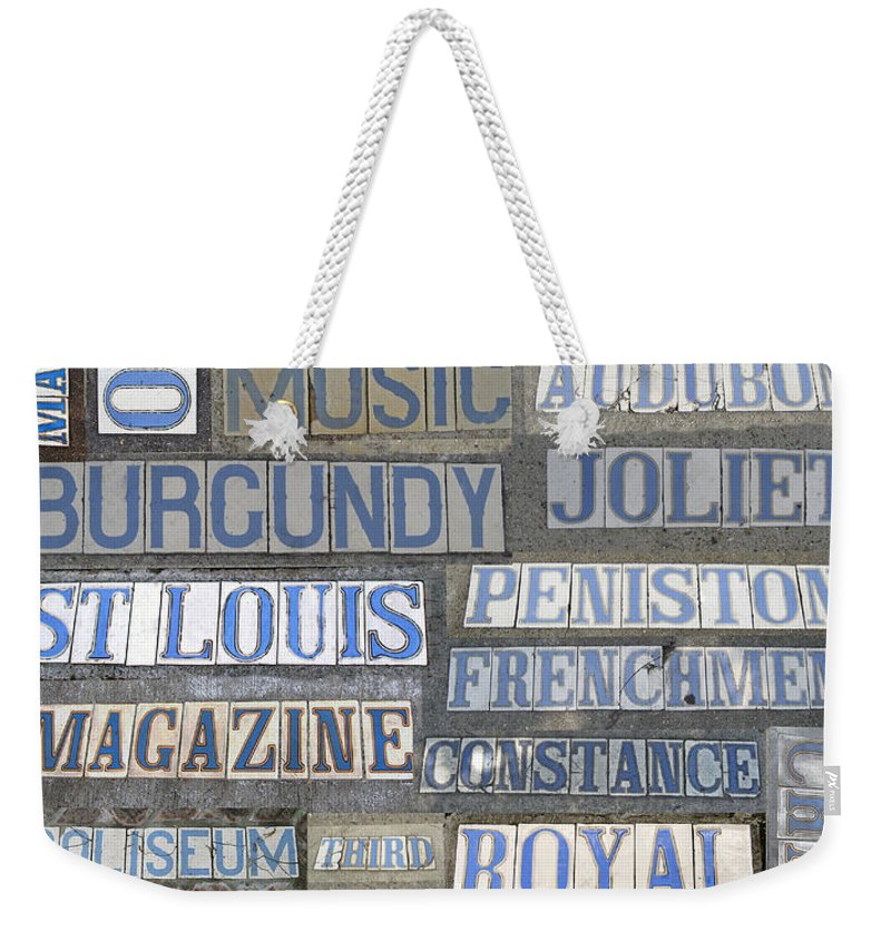 New+orleans Weekender Tote Bag featuring the photograph Old New Orleans Street Tiles by NolaOriginals