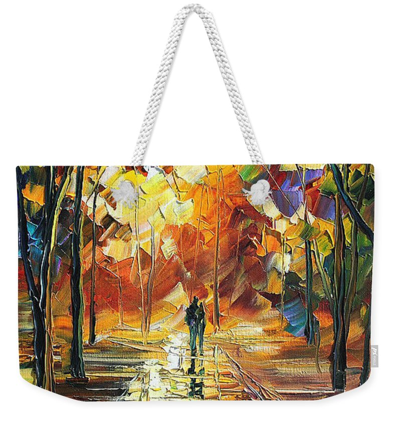 Art Gallery Weekender Tote Bag featuring the painting Old Park 3 - Palette Knife Oil Painting On Canvas By Leonid Afremov by Leonid Afremov