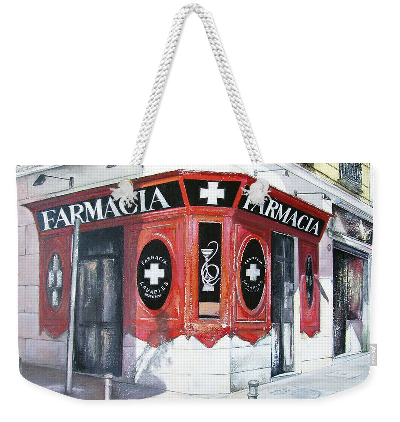 Pharmacy Weekender Tote Bag featuring the painting Old Pharmacy by Tomas Castano