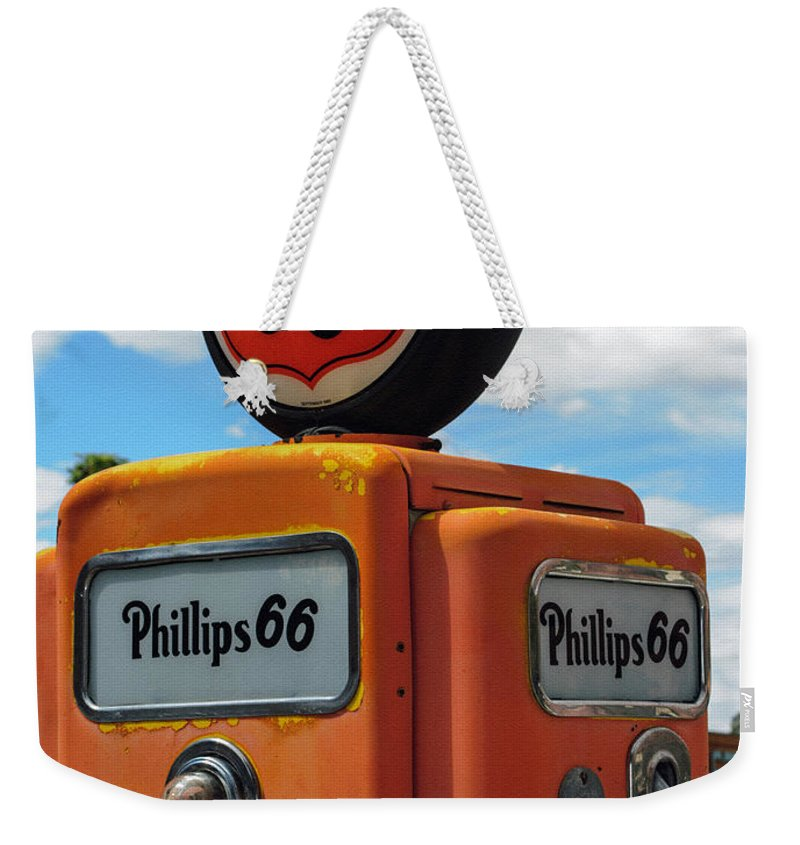 Old Phillips 66 Gas Pump Weekender Tote Bag featuring the photograph Old Phillips 66 Gas Pump by Tikvah's Hope