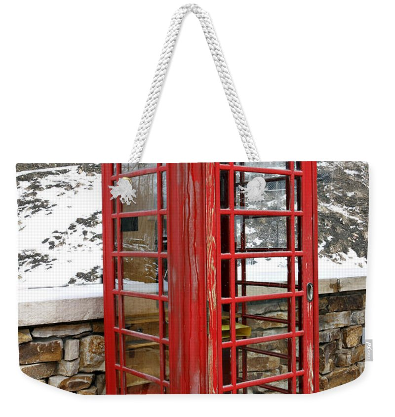Communication Weekender Tote Bag featuring the photograph Old Phone Booth by Marilyn Hunt