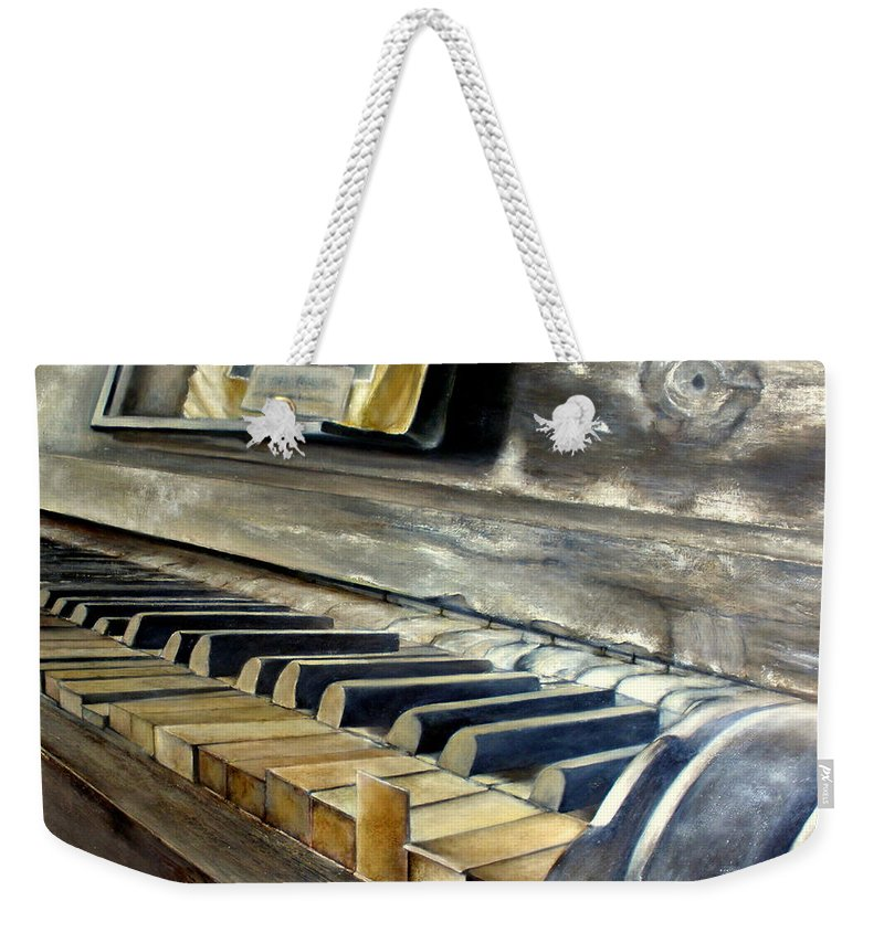 Old Weekender Tote Bag featuring the painting Old Piano by Tomas Castano