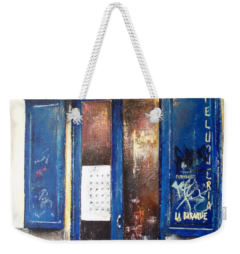 Old Weekender Tote Bag featuring the painting Old Plumbing-madrid by Tomas Castano